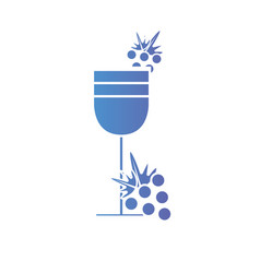 line wine glass with grapes fruits vector image