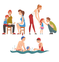 loving parents and their kids set father mother vector image