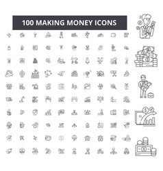 making money editable line icons 100 set vector image