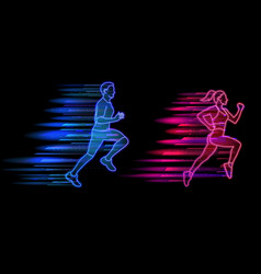 man and woman running neon light style jogging vector image