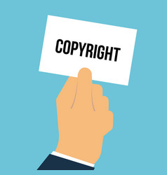 man showing paper copyright text vector image