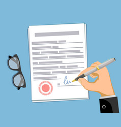 man signs a business contract paper document vector image