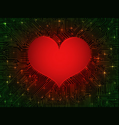 Matte glowing red heart computer integrated vector