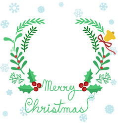 merry christmas typography green frame wreath vector image