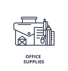 office supplies line icon concept office supplies vector image