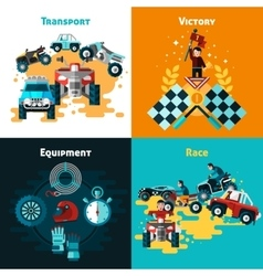 Offroad Concept Icons Set vector image