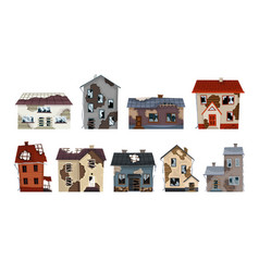 Old weathered houses and dwellings collection vector
