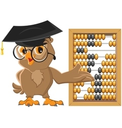 Owl teacher showing abacus vector