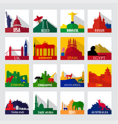 Popular sightseeing spots in the world icons vector