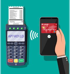pos terminal and smartphone payment transaction vector image