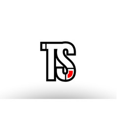 red and black alphabet letter ts t s logo vector image