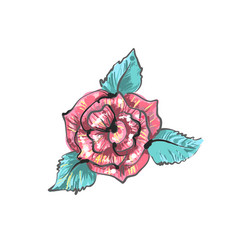 Red rose embroidery sketch isolated on white vector