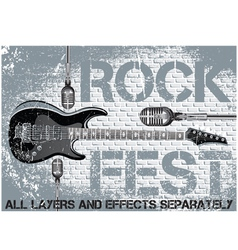 Rock festival template with guitar microphone vector image