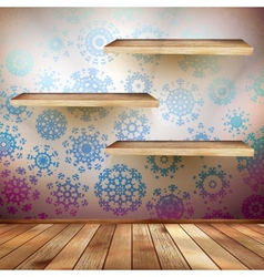 Room wall with a shelfs snowflakes EPS 10 vector image