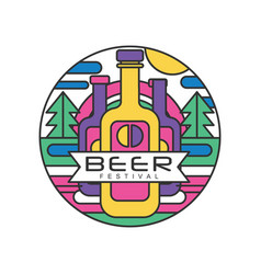 Round abstract logo template for beer festival vector