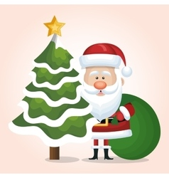 Santa claus tree christmas and bag gift green vector