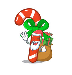 Santa with gift candy cane above mascot table vector