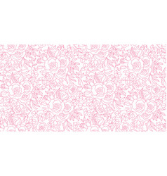 seamless pattern hand drawn outline pink peony vector image