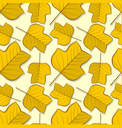seamless pattern with tulip poplar autumn leaves vector image
