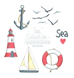 set nautical objects vector image