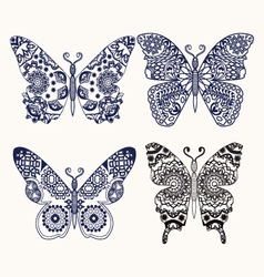set of butterflies for color page vector image