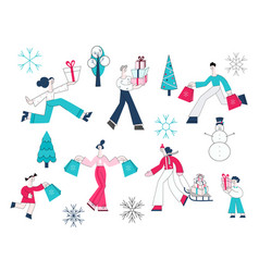 set of people with shopping vector image