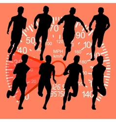 Set of silhouettes Runners on sprint men against vector
