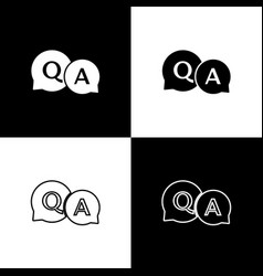 Set speech bubbles with question and answer icon vector