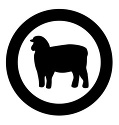 Sheep silhouette black icon in circle isolated vector