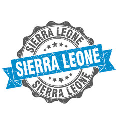 Sierra leone round ribbon seal vector