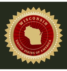 Star label Wisconsin vector