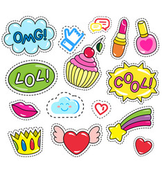 Stickers or patches modern emoticons collection vector