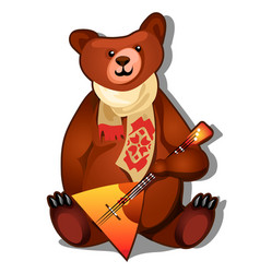 The brown bear holds the national russian musical vector
