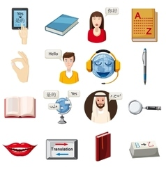 Translator profession icons set cartoon style vector image