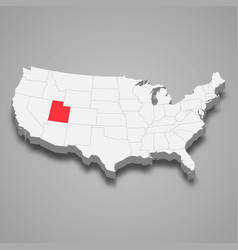 utah state location within united states 3d map vector image