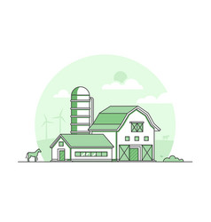 Village - modern thin line design style vector