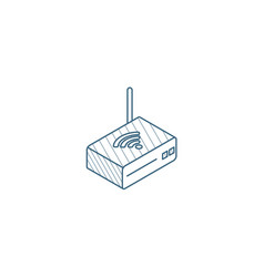 wi-fi router isometric icon 3d line art technical vector image