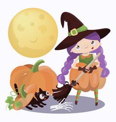 wizard halloween mystic holiday cartoon vector image