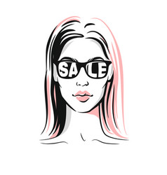 Women face with sunglasses vector