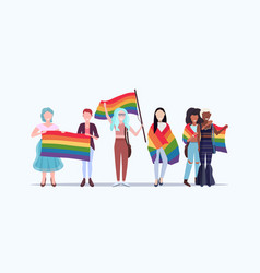 Women group holding rainbow flag love parade lgbt vector