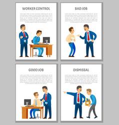 worker control bad good job dismissal of worker vector image