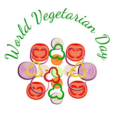 world vegetarian day vegetables sliced zucchini vector image