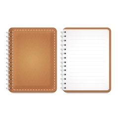 a leather notebook with spiral vector image vector image