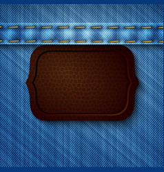 Abstract denim background with leather tag vector image