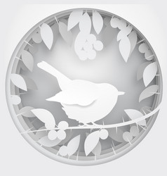 paper box of shadow to bird on blackthorn tree vector image vector image