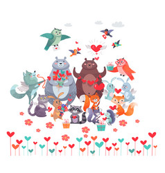 set of animals with hearts valentines day concept vector image