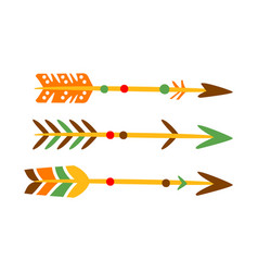 three decorated bow arrows native indian culture vector image vector image