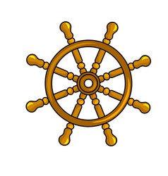 nautical steering wheel icon vector image vector image