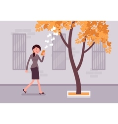 Woman walks with smartphone to bump into a tree vector image vector image