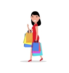 cartoon happy woman shopping bags vector image vector image
